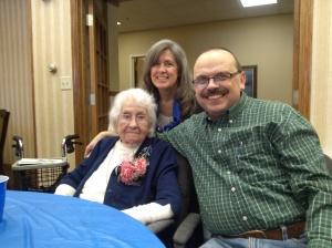 My wife and I with my Grandma Worldia