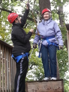 Ida, one day before her 82nd birthday, on a zip line.