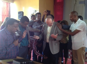 Being prayed over by the Gospel of John class I was privileged to teach at Addis Bible College.