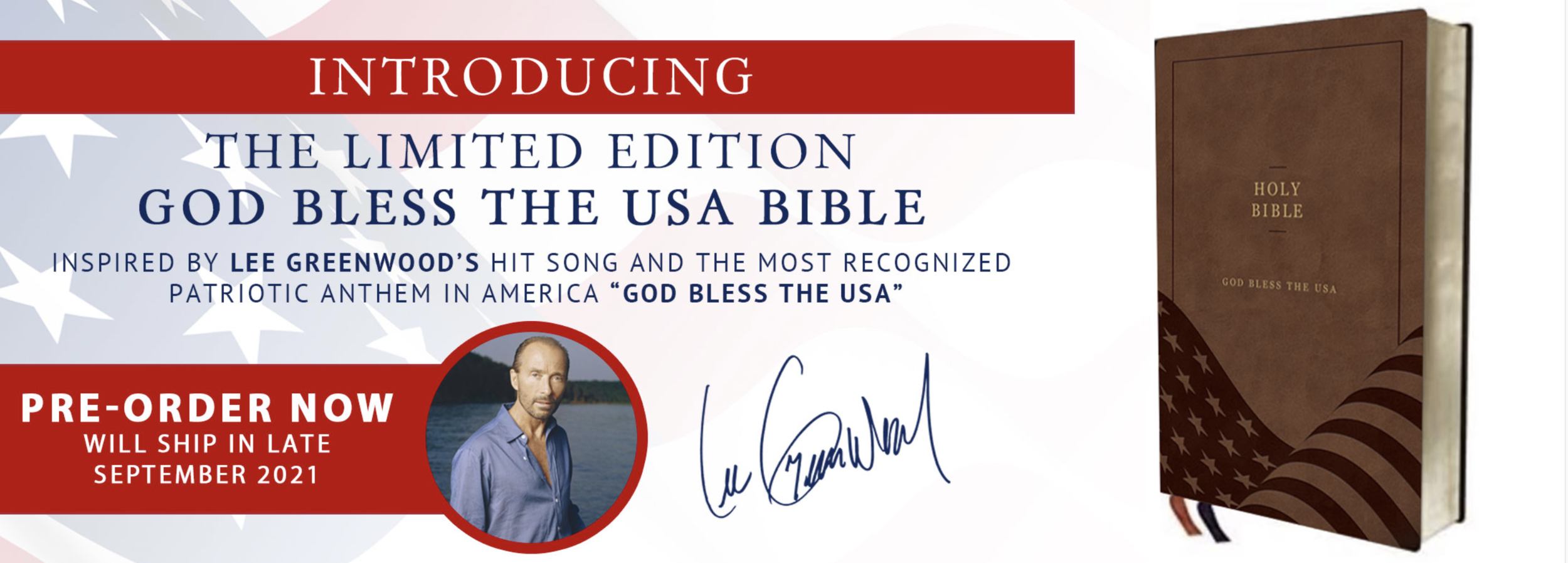 A screenshot of the God Bless the USA Bible website showing Lee Greenwood's endorsement.
